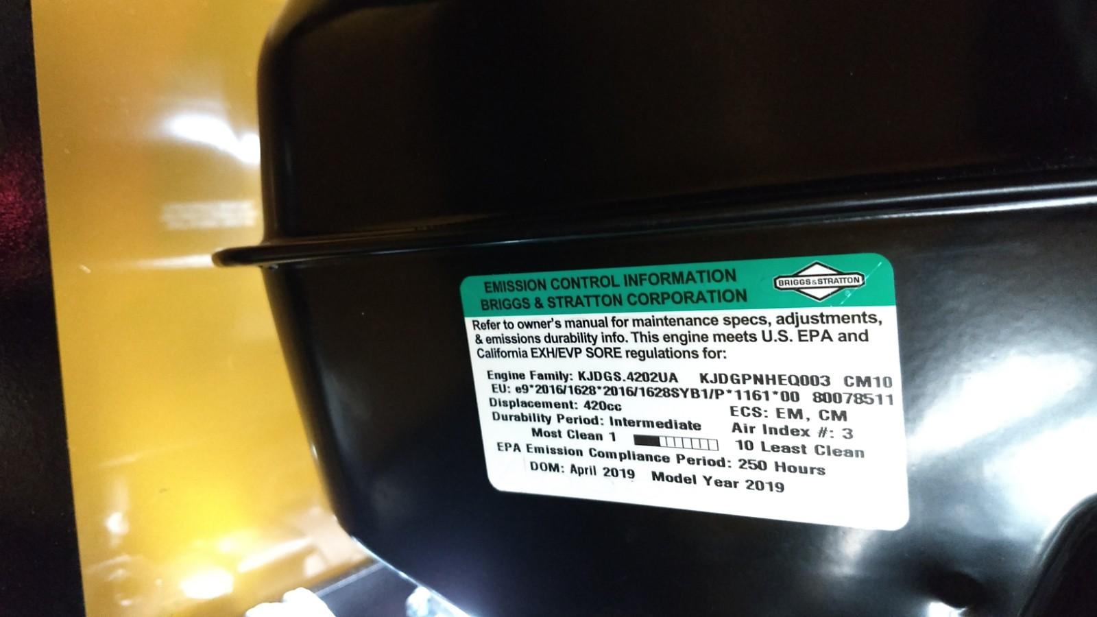 Moteur EPA (certificat de conformité anti-pollution)